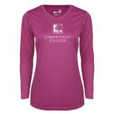 Ladies Syntrel Performance Raspberry Longsleeve Shirt-Institutional Mark