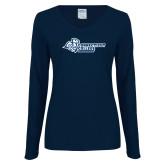 Ladies Navy Long Sleeve V Neck T Shirt-Primary Mark Flat