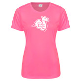 Ladies Performance Hot Pink Tee-Camel with CC