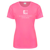 Ladies Performance Hot Pink Tee-Institutional Mark