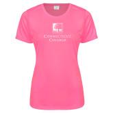 Ladies Performance Hot Pink Tee-Institutional Mark