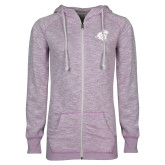 ENZA Ladies Hot Violet Marled Full Zip Hoodie-Camel with CC