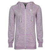 ENZA Ladies Hot Violet Marled Full Zip Hoodie-Institutional Mark