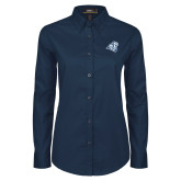 Ladies Navy Twill Button Down Long Sleeve-Camel with CC