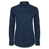Ladies Navy Twill Button Down Long Sleeve-Arched Connecticut College