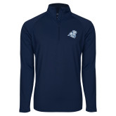Sport Wick Stretch Navy 1/2 Zip Pullover-Camel with CC