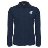 Fleece Full Zip Navy Jacket-Camel with CC