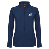 Ladies Fleece Full Zip Navy Jacket-Camel with CC