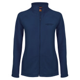 Ladies Fleece Full Zip Navy Jacket-Arched Connecticut College