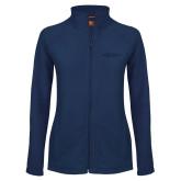 Ladies Fleece Full Zip Navy Jacket-Arched Connecticut College