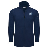 Columbia Full Zip Navy Fleece Jacket-Camel with CC
