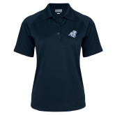 Ladies Navy Textured Saddle Shoulder Polo-Camel with CC