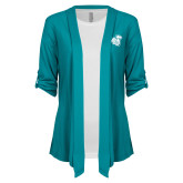 Ladies Teal Drape Front Cardigan-Camel with CC