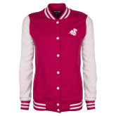 Ladies Pink Raspberry/White Fleece Letterman Jacket-Camel with CC