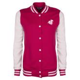 Ladies Pink Raspberry/White Fleece Letterman Jacket-Camel with CC