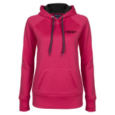 Ladies Pink Raspberry Tech Fleece Hoodie-Arched Connecticut College
