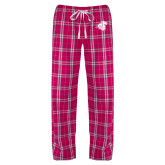 Ladies Dark Fuchsia/White Flannel Pajama Pant-Camel with CC