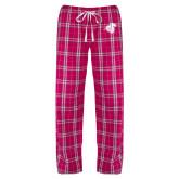 Ladies Dark Fuchsia/White Flannel Pajama Pant-Camel with CC
