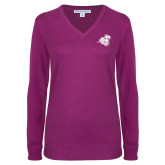 Ladies Deep Berry V Neck Sweater-Camel with CC