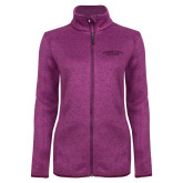 Dark Pink Heather Ladies Fleece Jacket-Arched Connecticut College