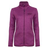 Dark Pink Heather Ladies Fleece Jacket-Arched Connecticut College