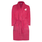 Ladies Pink Raspberry Plush Microfleece Shawl Collar Robe-Camel with CC