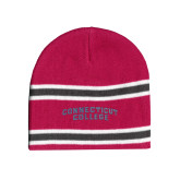 Pink/Charcoal/White Striped Knit Beanie-Arched Connecticut College