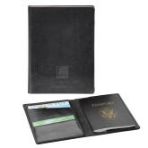 Fabrizio Black RFID Passport Holder-Institutional Mark  Engraved