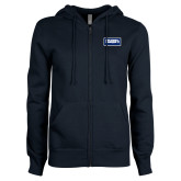 ENZA Ladies Navy Fleece Full Zip Hoodie-Standard Logo