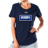 Ladies Under Armour Navy Charged Cotton Tee-Standard Logo