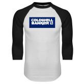 White/Black Raglan Baseball T Shirt-Standard Logo
