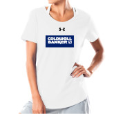 Ladies Under Armour White Charged Cotton Tee-Standard Logo