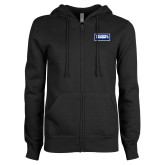ENZA Ladies Black Fleece Full Zip Hoodie-Standard Logo