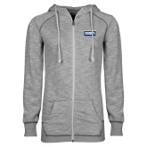 ENZA Ladies Grey/Black Marled Full Zip Hoodie-Standard Logo