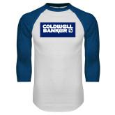 White/Royal Raglan Baseball T Shirt-Standard Logo