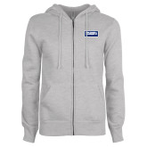 ENZA Ladies Grey Fleece Full Zip Hoodie-Standard Logo