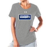 Ladies Under Armour Grey Charged Cotton Tee-Standard Logo