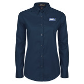 Ladies Navy Twill Button Down Long Sleeve-Standard Logo