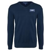 Classic Mens V Neck Navy Sweater-Standard Logo