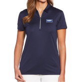 Ladies Callaway Tulip Sleeve Navy Zip Polo-Standard Logo