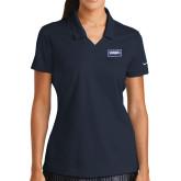 Ladies Nike Golf Dri Fit Navy Micro Pique Polo-Standard Logo