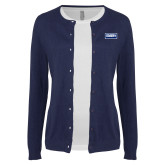 Ladies Navy Cardigan-Standard Logo