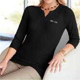 Ladies V Notch Black 3/4 Sleeve Shirt-Global Luxury