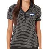 Ladies Callaway Core Stripe Black/White Polo-Standard Logo