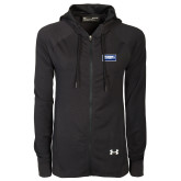 Ladies Under Armour Black Varsity Full Zip Hoodie-Standard Logo