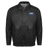 Black Leather Bomber Jacket-Standard Logo