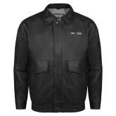 Black Leather Bomber Jacket-Global Luxury