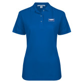 Ladies Easycare Royal Pique Polo-Standard Logo