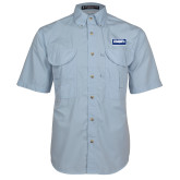 Light Blue Short Sleeve Performance Fishing Shirt-Standard Logo