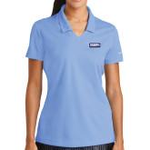 Ladies Nike Golf Dri Fit Light Blue Micro Pique Polo-Standard Logo